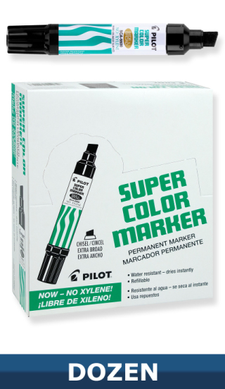 Pilot Jumbo Super Color Permanent Black Marker, Dozen Box