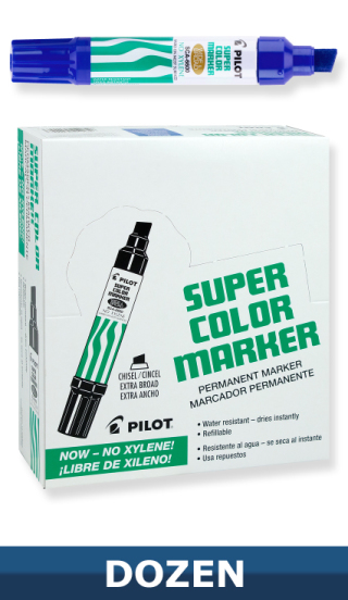 Pilot Jumbo Super Color Permanent Blue Marker, Dozen Box