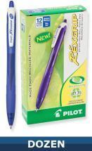 Pilot Recycled Rexgrip Retractable Ball Point pen, Dozen Box