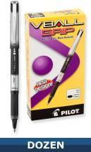 Pilot Vball Grip Rolling Ball Stick pen with Liquid Black Ink, Dozen Box