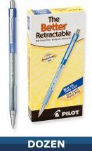 Pilot Better Retractable Ball Point pen, Blue, Dozen Box