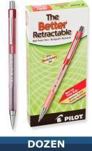 Pilot Better Retractable Ball Point pen, Red, Dozen Box