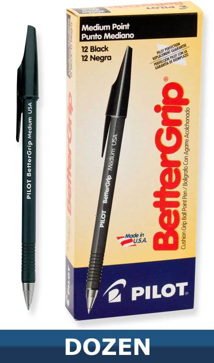 Pilot Better Grip Ball Point Stick pen, Black, Dozen Box