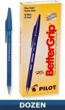 Pilot Better Grip Ball Point Stick pen, Blue, Dozen Box