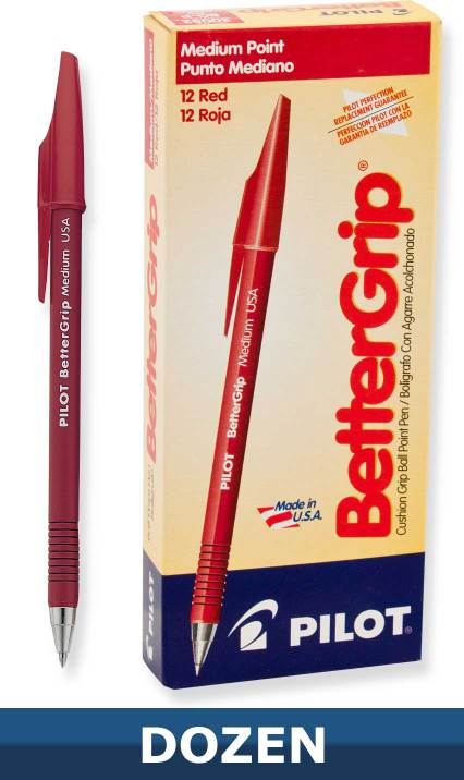 Pilot Better Grip Ball Point Stick pen, Red, Dozen Box