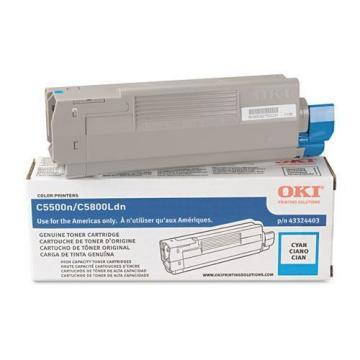 OKI High-Yield Toner (Type C8), 5000 Page-Yield, Cyan