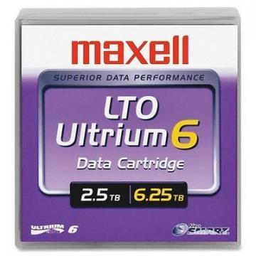 "Maxell 1/2"" Ultrium LTO-6 Cartridge, 2776 Ft, 2.5TB"