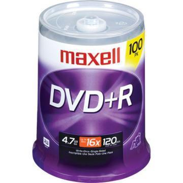 Maxell DVD+R Discs, 4.7GB, 16x, Spindle, Silver, 100/Pack