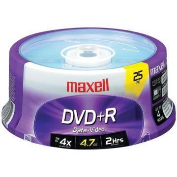 Maxell DVD+R Discs, 4.7GB, 16x, Spindle, Silver, 25/Pack
