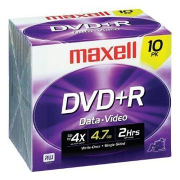 Maxell DVD+R Discs, 4.7GB, 16x, w/Jewel Cases, 10/Pack