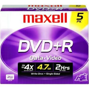 Maxell DVD+R Discs, 4.7GB, 16x, w/Jewel Cases, 5/Pack