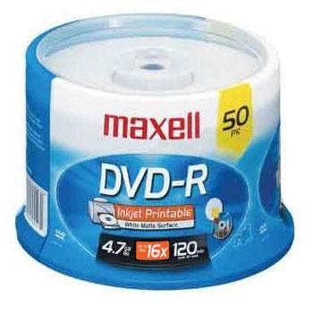 Maxell DVD-R Recordable Discs, Printable, 4.7GB, 16x, Spindle, 50/Pack