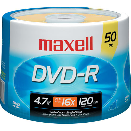 Maxell DVD-R Discs, 4.7GB, 16x, Spindle, Gold, 50/Pack