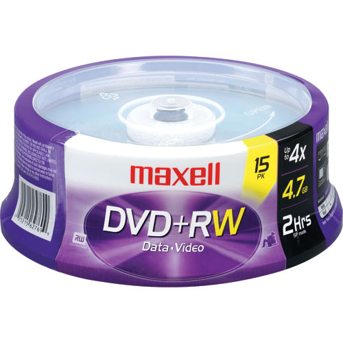 Maxell DVD+RW Discs, 4.7GB, 4x, Spindle, Silver, 15/Pack
