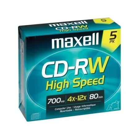 Maxell CD-RW Discs, 700MB/80min, 12x, w/Jewel Cases, Gold, 5/Pack