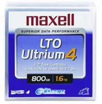 "Maxell 1/2"" Ultrium LTO-4 Cartridge, 2600ft, 800GB/1600GB"