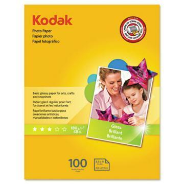 Kodak Photo Paper, Glossy, 8-1/2 x 11, 100 Sheets/Pack