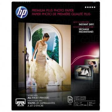 HP Premium Plus Photo Paper, Soft-Gloss, 8-1/2 x 11, 25 Sheets