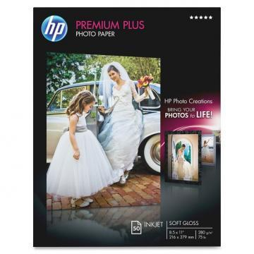 HP Premium Plus Photo Paper, Soft-Gloss, 8-1/2 x 11, 50 Sheets