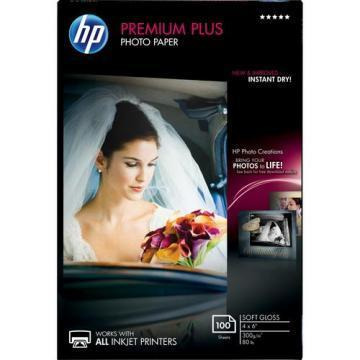 HP Premium Plus Photo Paper, Soft-Gloss, 4 x 6, 100 Sheets