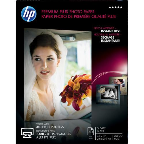 HP Premium Plus Photo Paper, Glossy, 8-1/2 x 11, 50 Sheets