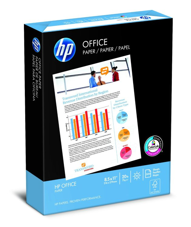 HP Office Ultra-White Paper, 8-1/2 x 11, 500/Ream, 10/Carton