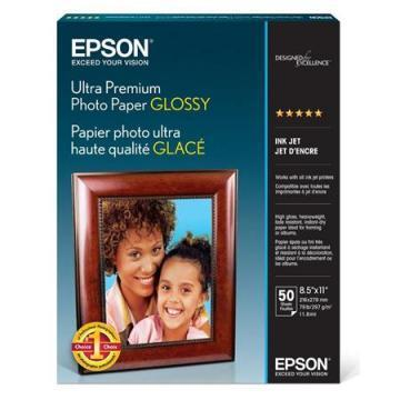 Epson Ultra-Premium Glossy Photo Paper, 8-1/2 x 11, 50 Sheets