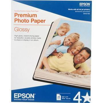 Epson Premium Photo Paper, High-Gloss, 8-1/2 x 11, 25 Sheets