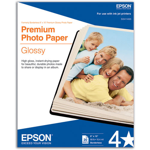 Epson Premium Photo Paper, High-Gloss, 8 x 10, 20 Sheets
