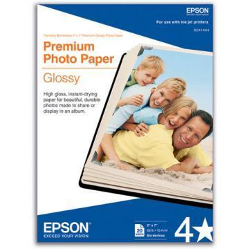 Epson Premium Photo Paper, High-Gloss, 5 x 7, 20 Sheets