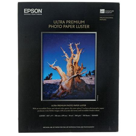 Epson Ultra Premium Photo Paper, Luster, 8-1/2 x 11, 50 Sheets