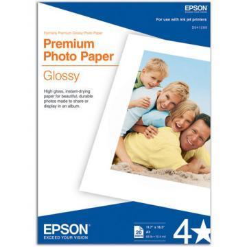 Epson Premium Photo Paper, High-Gloss, 11-3/4 x 16-1/2, 20 Sheets