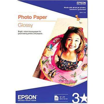 Epson Glossy Photo Paper, Glossy, 13 x 19, 20 Sheets