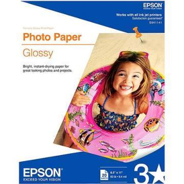 Epson Glossy Photo Paper, Glossy, 8-1/2 x 11, 20 Sheets