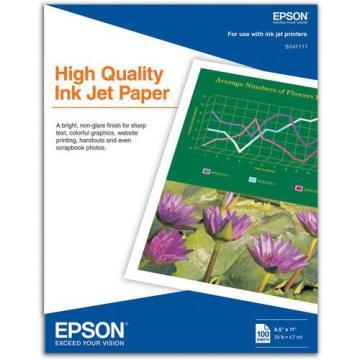 Epson High Quality Inkjet Paper, Matte, 8-1/2 x 11, 100 Sheets