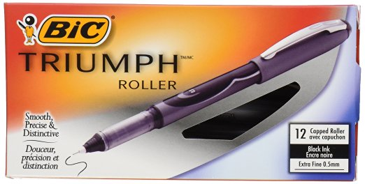 BIC Triumph Roller Ball Stick Pen, Red Ink, .7mm, Fine