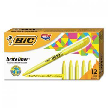 BIC Brite Liner Highlighter, Chisel Tip, Fluorescent Yellow Ink