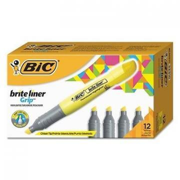 BIC Brite Liner Grip XL Highlighter, Chisel Tip, Fluorescent Yellow Ink