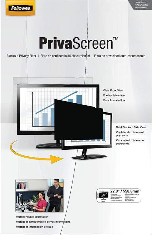 "Fellowes PrivaScreen Blackout Privacy Filter for 22"" Widescreen"