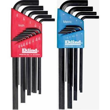 Eklind 22-Piece Short- and Long-Arm L-Wrench Hex Key Set, SAE/Metric