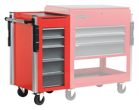 Proto Side Cabinet, 18x20x34 in., 5 Drawers, Red