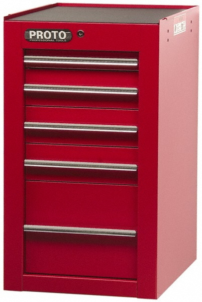 Proto Side Cabinet, 19-1/2 x 25 x 34 in.m Red, 5 Drawers
