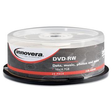 Innovera DVD-RW Discs, 4.7GB, 4x, Spindle, Silver, 25/Pack