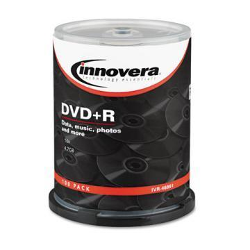 Innovera DVD+R Discs, 4.7GB, 16x, Spindle, 100/Pack