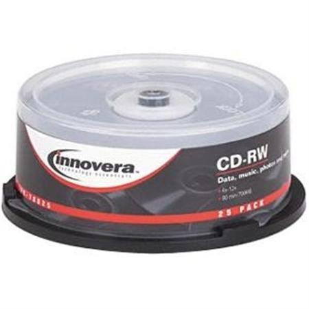 Innovera CD-RW Discs, 700MB/80min, 12x, Spindle, 25/Pack