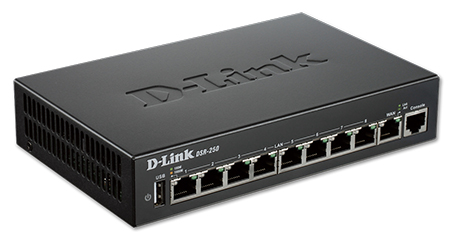 D-Link DSR-250 8-Port Gigabit VPN Router, 8 LAN/1 WAN