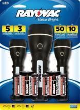 Rayovac LED Flashlight, Black, 3 Pack