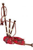 Roosebeck Half Size Sheesham Bagpipe with Red Tartan Cover