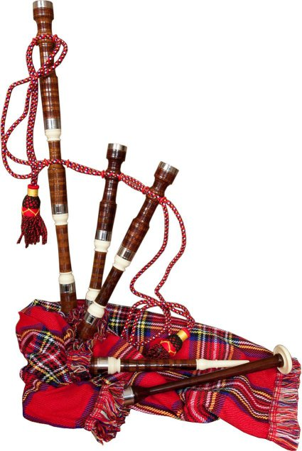 Roosebeck Miniature Sheesham Bagpipe with Red Tartan Cover
