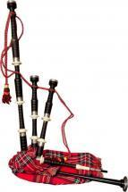 Roosebeck Full Size Ebony Bagpipe with Red Tartan Cover